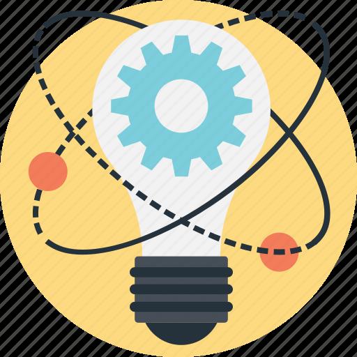 bulb, cog, idea, innovation, solution icon