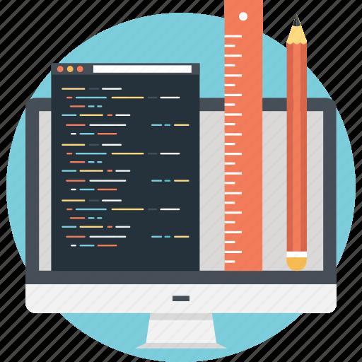 development, pencil, programming, ruler, script icon