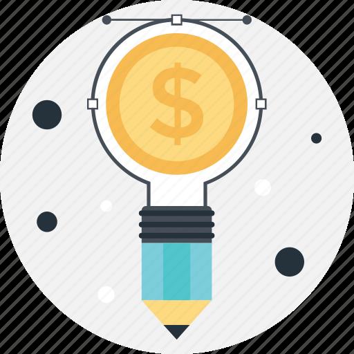beizer, big idea, bright, dollar, pencil icon