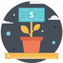 commerce, growth, investment, money plant, plant icon
