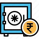 deposit, indian, money, rupee, safe, secure, vault icon