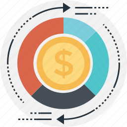 business, dollar, dollar coins, investment, return on investment icon
