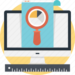 graph, magnifier, market research, monitor, pie icon