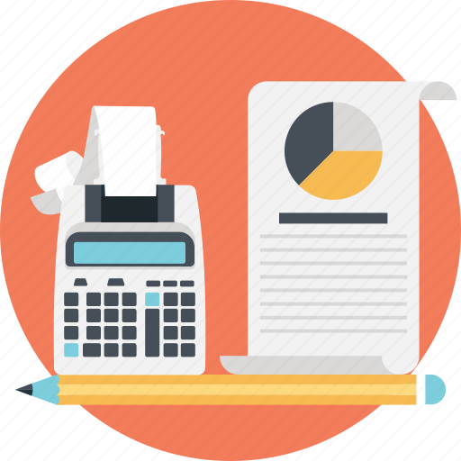 accounting, budget, calculator, graph, pie icon
