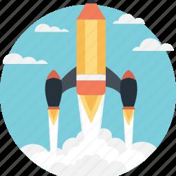 missile, rocket, spacecraft, spaceship, start up icon