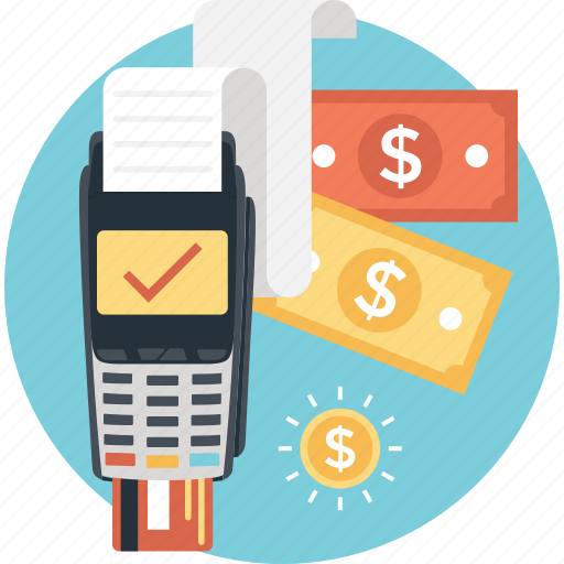 cash, dollar, paper money, payment, terminal icon