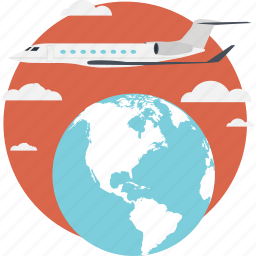 airplane, business travel, flight, globe, travel icon