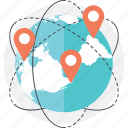 exploration, globe, map, pin, testing icon