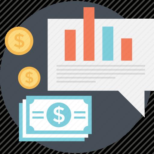 banknote, graph, paper money, report, statistics icon