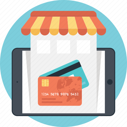 buy online, card, credit card, m commerce, smartphone icon