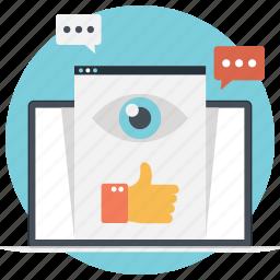chat, feedback, social media, view, vision icon