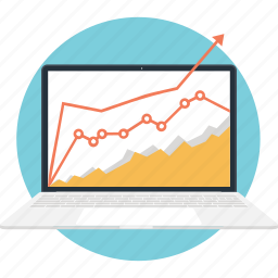 business, chart, graph, laptop, stock market icon