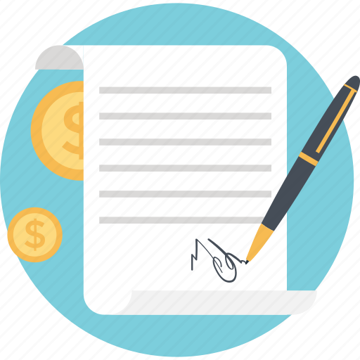 contract, dollar, note, pen, sheet icon