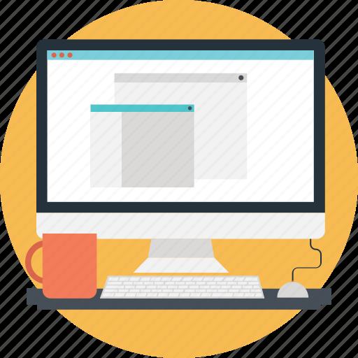 design, layout, monitor, office work, workstation icon