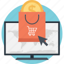 bag, cart, dollar, e commerce, shopper icon