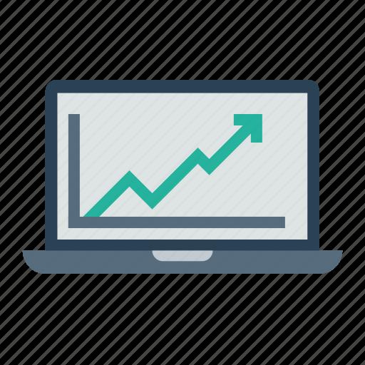 analysis, business, chart, graph, growth, laptop, statics icon