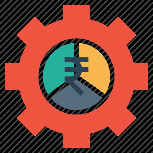 analysis, chart, gear, indian, money, optimization, rupee icon