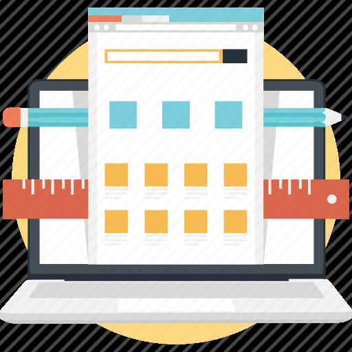 design, laptop, template, web layout, website icon