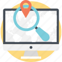 find us, gps, location, magnifier, monitor icon