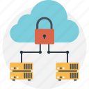 business, cloud, cloud storage, padlock, seo icon