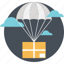 adventure, balloon, delivery, hot air, pack icon