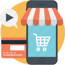 cart, credit card, mobile marketing, shopping, trolley icon