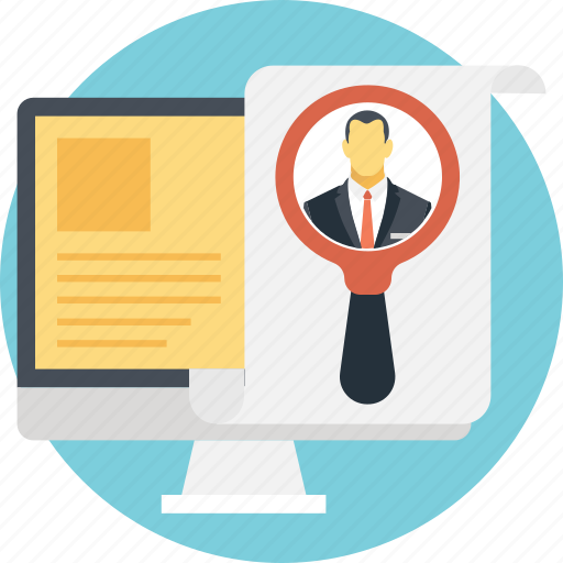 find person, magnifier, magnifying, talent hunt, user icon