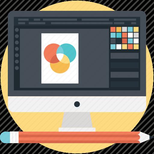 color, combination, creative search, design, monitor icon