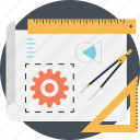 cog, divider, draft, graph, project development icon