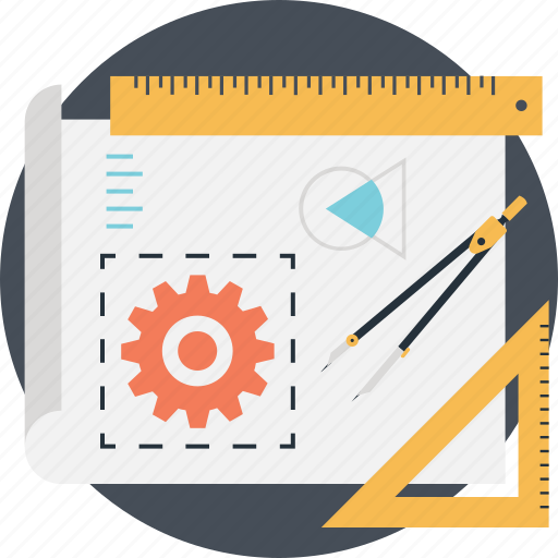 cog, divider, draft, graph, project development icon