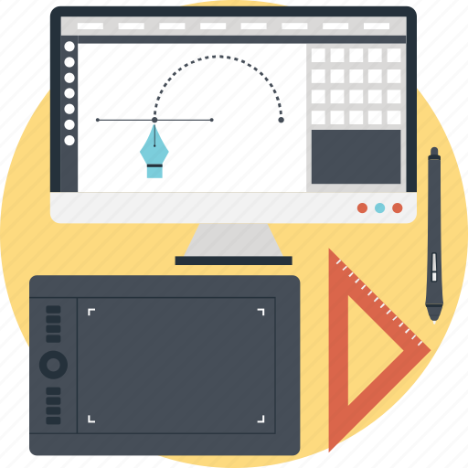 designing, graphic design, illustration, monitor, wacom icon