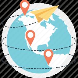 global, global footprint, gps, paperplane, pin icon