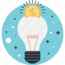 bulb, business, creativity, dollar, idea icon