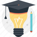 bulb, education, graduate, idea, pencil icon