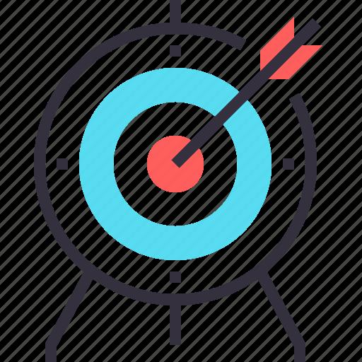 achievement, arrow, goal, marketing, objective, success, target icon
