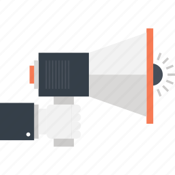 advertising, bullhorn, communication, loudspeaker, marketing, megaphone, promotion icon