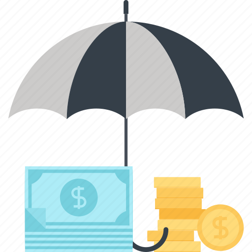 currency, insurance, money, protection, safety, security, umbrella icon