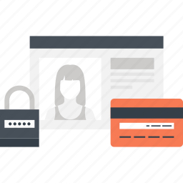 account, card, credit, document, identity, login, security icon