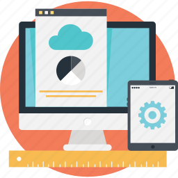 cloud, cog, monitor, smartphone, technology icon