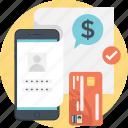credit card, dollar, login, smartphone, mobile transaction