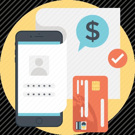 credit card, dollar, login, mobile transaction, smartphone icon