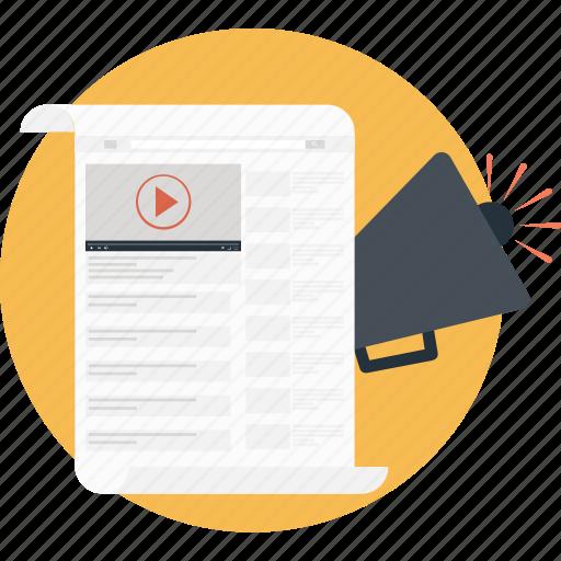 advert, bullhorn, documents, sheet, video marketing icon