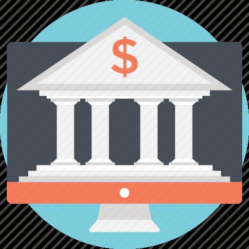 bank, building, dollar, internet banking, real estate icon