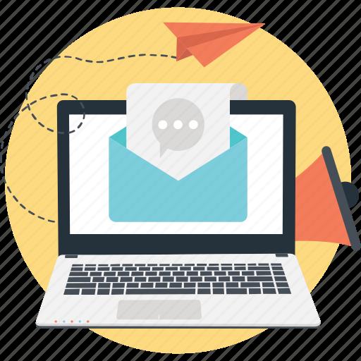 advert, bullhorn, laptop, marketing, paperplane icon