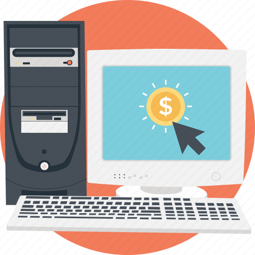 click, desktop, monitor, online earning, ppc icon