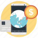 dollar, globe worldwide, marketing, mobile marketing, smartphone icon