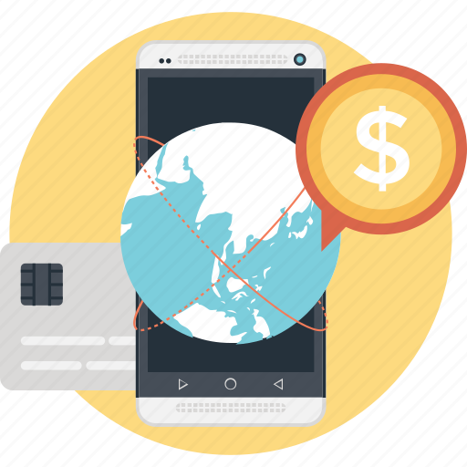 dollar, globe worldwide, marketing, mobile marketing, smartphone icon