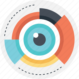 data visualization, look, pie, view, vision icon