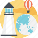 globe, hot air balloon, technology, lighthouse, discover icon