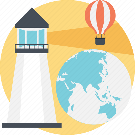 discover, globe, hot air balloon, lighthouse, technology icon